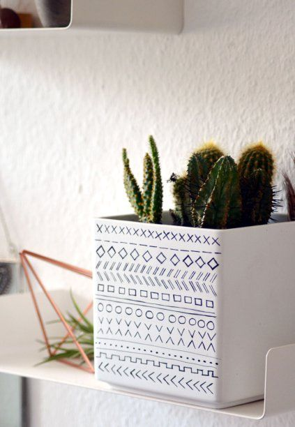 #diy #plantpot #ethno #pattern #cactus #boho #decor #decoration