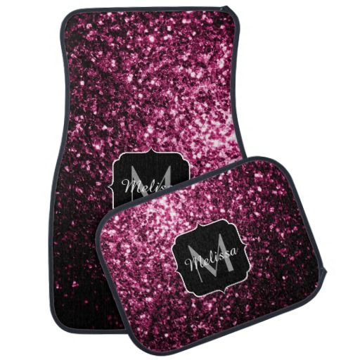 Beautiful Pink glitter sparkles Monogram Car Floor Mats Set by #PLdesign #PinkSparkles #SparklesGift