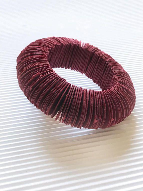 Single bangle bracelet dark red burgundi paper jewelry