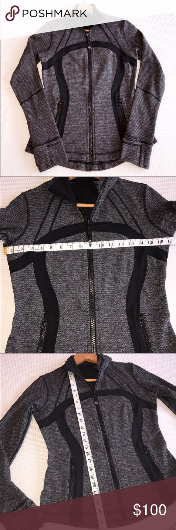 LuluLemon Define Mini Check Black Heathered Coal LuluLemon Define Soft Mini Check Black Heathered Coal 6 • Style # W4397S • Gently used  • Good Condition  • Size 6 • Super Stretchy  • Flattering Fit • Thumb holes • Sweat-Wicking • Four-Way Stretch • Cottony-Soft Handfeel • Quick Recovery • Naturally Breathable lululemon athletica Jackets & Coats