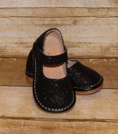 Girls squeaky shoes BLACK sparkly size 1 - 7 squeakers sneakers velcro strap boutique style shoe