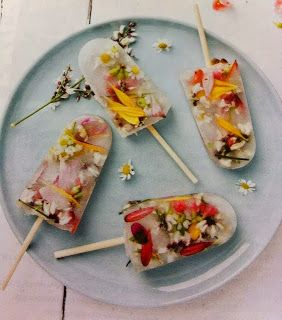 Popcicles with edible flowers.