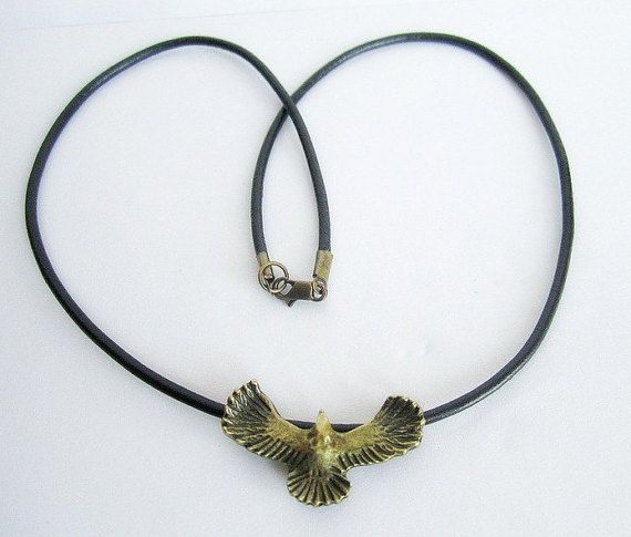Mens eagle necklace mens leather necklace mens by Bravemenjewelry