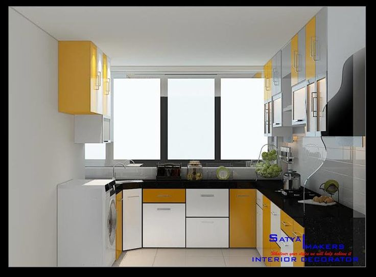 View Of Modular Bright Kitchen Having Black Platform Top Under Counter Shaker Cabinets And Over