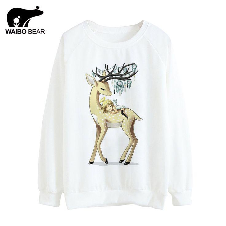 Hot Tracksuit Women  Thin Hoodies Cute Deer And Angel Print Pattern Hoody Round Neck Sweatshirts Sudaderas