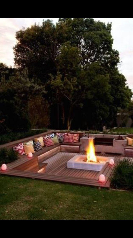 Inground campfire setting