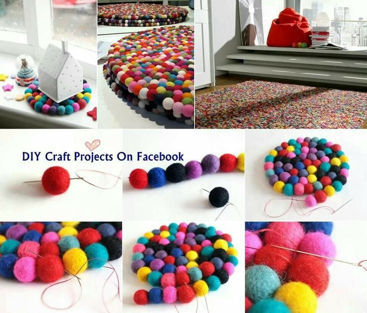 Felt ball rug - could maybe use homemade pompoms-anyway how fun would this be to make!