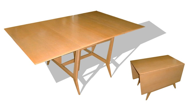 Heywood wakefield m1549 harmonic drop leaf extension table for Drop leaf extension table