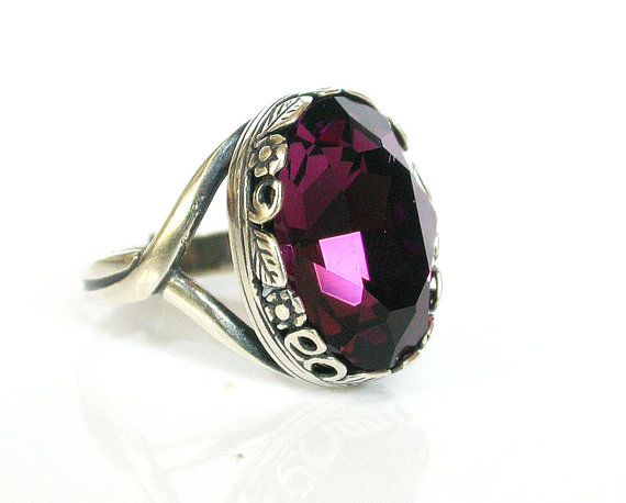 Hey, I found this really awesome Etsy listing at https://www.etsy.com/listing/162401897/victorian-gothic-silver-ring-purple