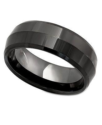 Men's Ring, Black Ceramic Ring