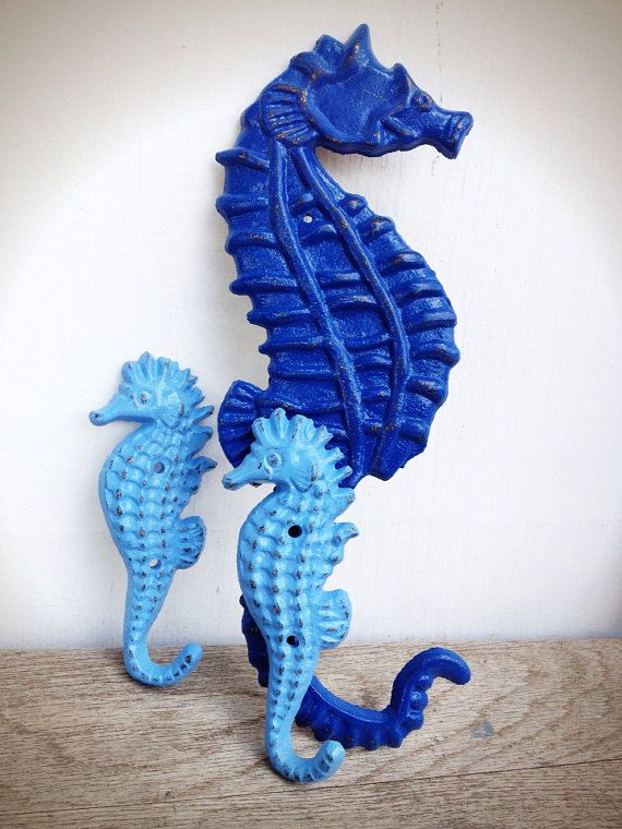 BOLD cobalt blue & aqua seahorse family set // SEAHORSE wall hook towel hook // NAUTICAL boys bathroom bedroom decor // shabby chic beach