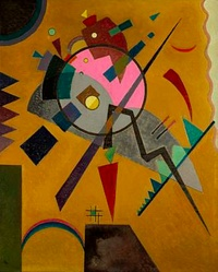 """Line, color, balance, harmony, and spirit. I love Kandinsky. """"Rose with Gray,"""" from 1924, is another painting found in Kansas City's Nelson-Atkin's Museum. I have seen entire exhibits of Kandinsky's work, including one recently at the Guggenheim, but I am especially fond of this painting, and its proximity."""