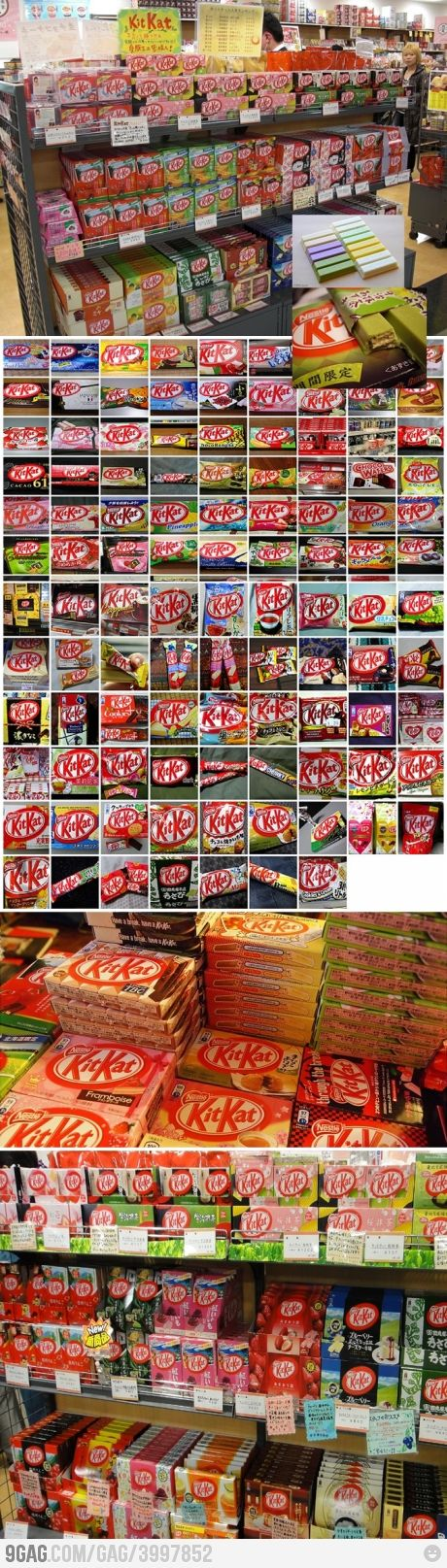 Meanwhile in Japan ============================ Only in Japan.. where you will find different, various varieties of KitーKat Bars. From the traditional, to seasonal, to the current ー ( such as  Baked potato; Soy sauce; Cherry blossom; Fruit Parfait flavours etc..) latest craze and trend - you name it → they have a 'KITーKAT' flavor for it!