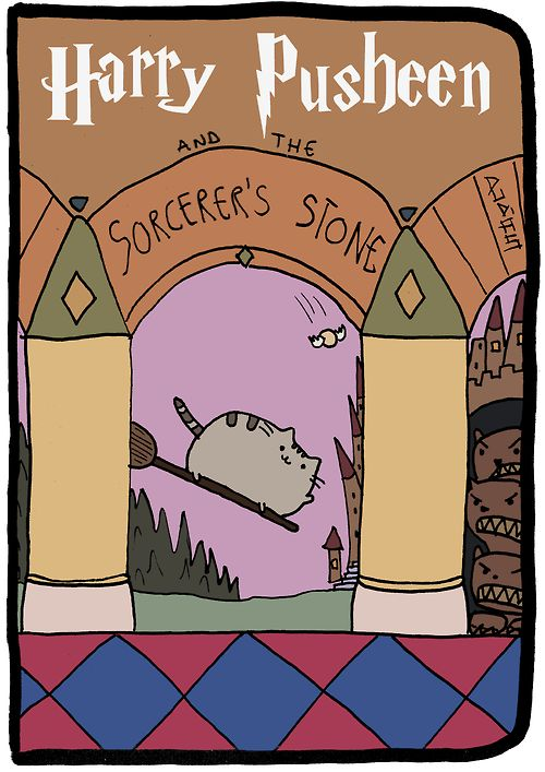 Harry Pusheen and the Sorcerer's Stone.  This is a tribute I made, all credits go to Mary GrandPré, Claire Belton, Andrew Duff and J. K. Rowling.