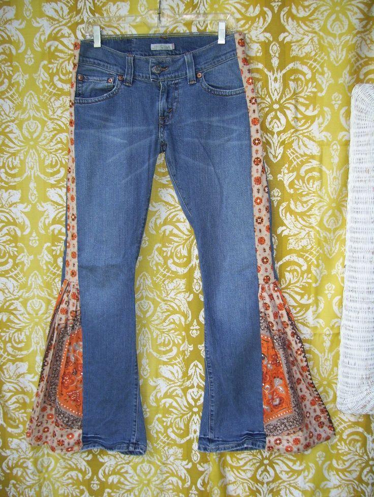 how to make hippie jeans | Hippie Bell Bottom Jeans. I should make myself ... | Vintage & Bohemi ...