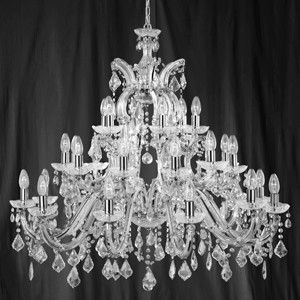 Marie Therese 30 Lamp Chrome And Crystal Chandelier