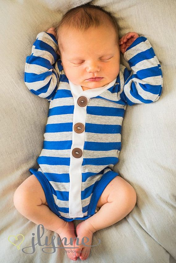 Baby Boy Cardigan Blue and Gray Striped Cardigan by alittlewoo