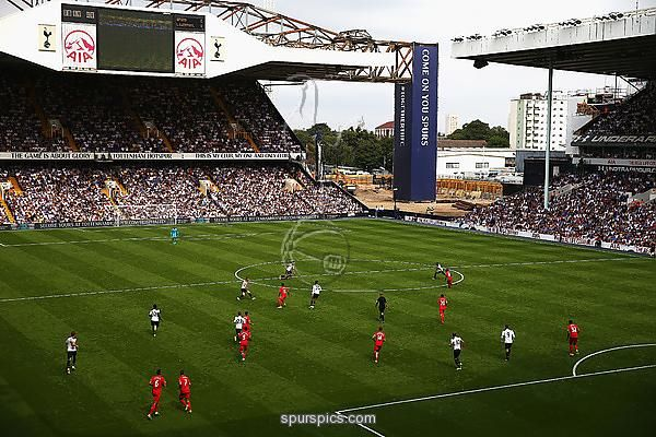 LONDON, ENGLAND - AUGUST 27: General view from inside the stadium during the Premier League match between Tottenham Hotspur and Liverpool at White Hart Lane on August 27, 2016 in London, England