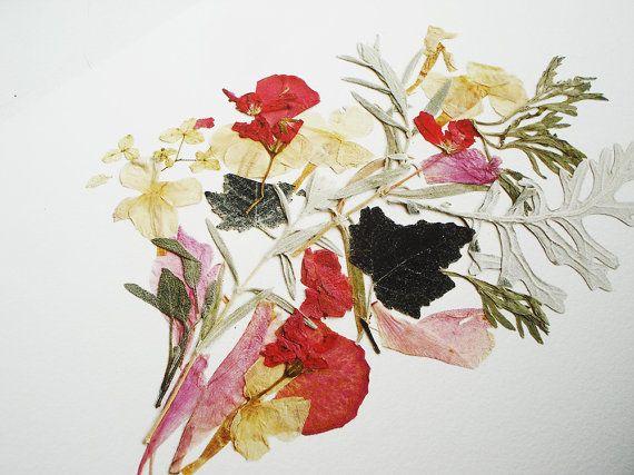 flower print botanical print pressed flower art dried flowers