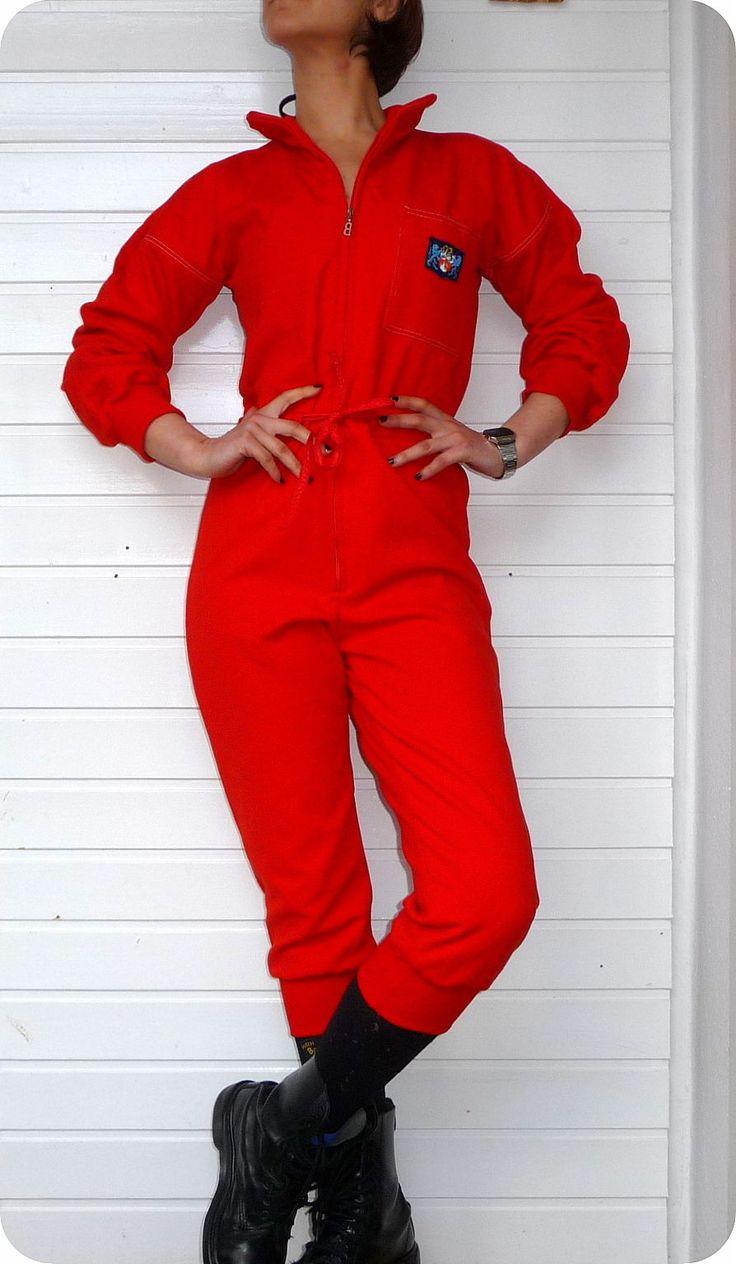 Vintage Unikat BOGNER Overall Jumpsuit Women 70er Hose Catsuit Rot Ski Twiggy in Kleidung & Accessoires, Damenmode, Overalls | eBay