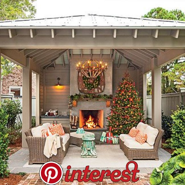 Bring The Holidays Outside Glowing Outdoor Fireplaces Ideas
