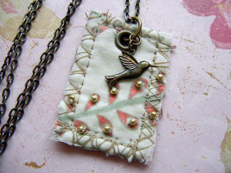 Mixed-media fiber/fabric jewelry art