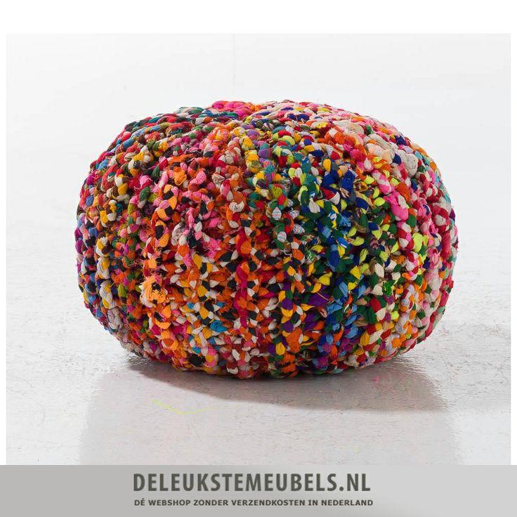 Deze hippe handmade poef Rocky is een echte eye-catcher! Shop 'm online zonder verzendkosten bij deleukstemeubels.nl! Snel leverbaar