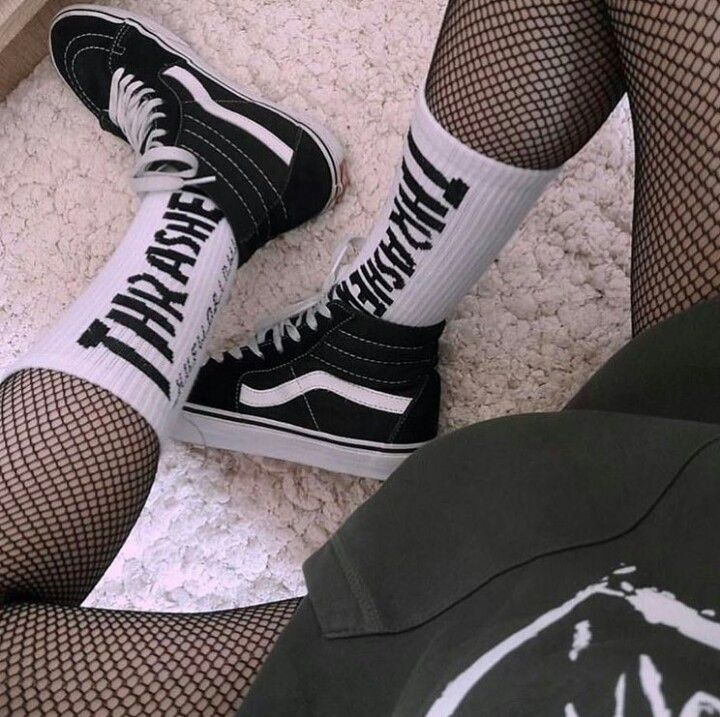 Vans, Thrasher socks, and fish net tights