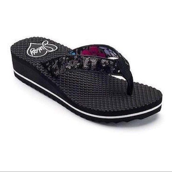 eb75115a4e69 Juicy Couture Sandals Black Sequin Flip Flops White Stripe Wedge Heel Size M  7-8