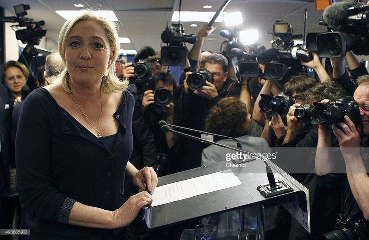 French far-right Front National (FN) party president Marine Le Pen arrives to deliver a speech after the victory of her party in the European Elections on May 25, 2014 in Nanterre, France. France's far-right National Front wins European Parliament elections in France with around 25 percent of the vote.