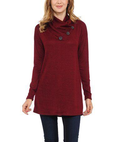 Look what I found on #zulily! Wine Button-Accent Shawl Collar Sweater #zulilyfinds