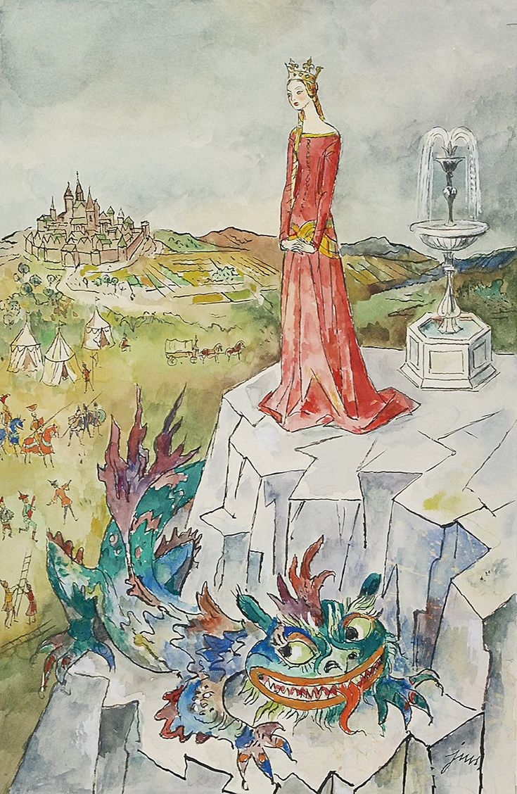 """Jan Marcin SZANCER (1902-1973)  Ilustracja do """"Baśni o Szklanej Górze"""", przed 1972 tusz, akwarela, papier; 38 x 25,5 cm (wymiar arkusza),"""