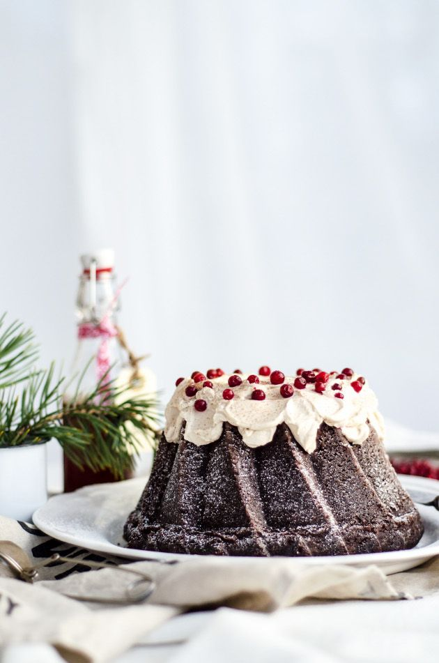 Spicy Chocolate Bundt Cake with Ginger Bread Frosting
