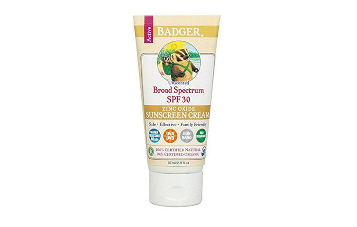 Badger Sunscreen Cream, Unscented, SPF 30 https://www.rodalewellness.com/health/safest-toxic-beach-sport-sunscreens-2017/slide/4