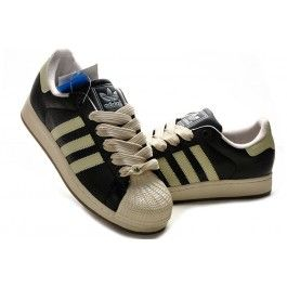 Nagelneu Adidas Superstar II Unisex Schwarz Beige Schuhe Günstig | schuhegunstig.net