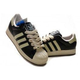 Nagelneu Adidas Superstar II Unisex Schwarz Beige Schuhe Günstig   schuhegunstig.net