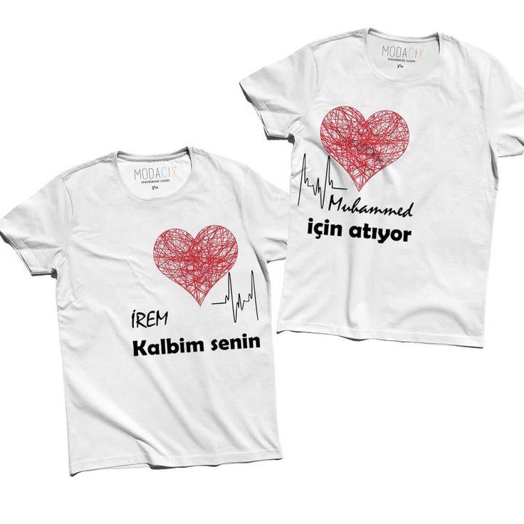 İsim Baskılı Sevgili Tişörtleri - Kalbim Senin İçin Atıyor