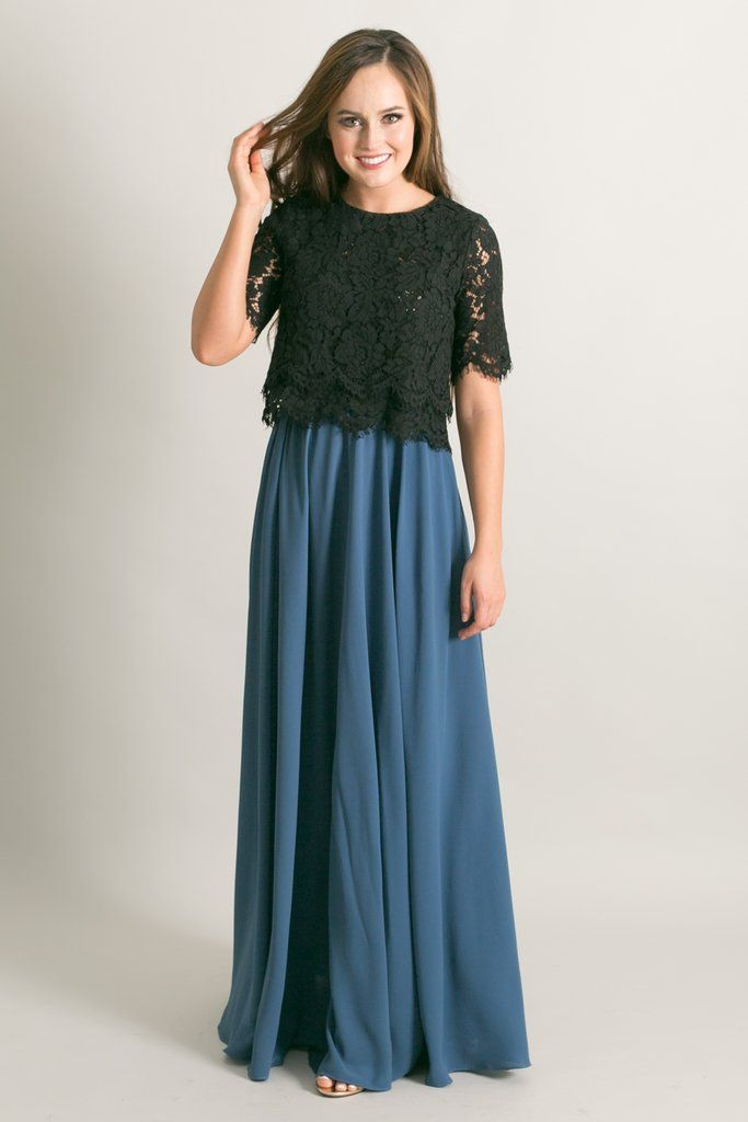 5c9bd7d05 Kelly Slate Blue Full Maxi Skirt | Clothes | Maxi skirt outfits ...