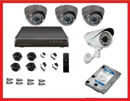 cctv kit dvr 8 canales + 4 camaras de seguridad disco 500