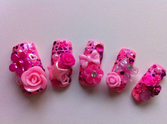 Pretty in Pink 3D acrylic nails by NailJuJu on Etsy, $17.00