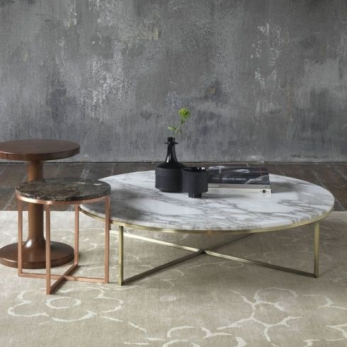 Round marble coffee table with brass & copper.