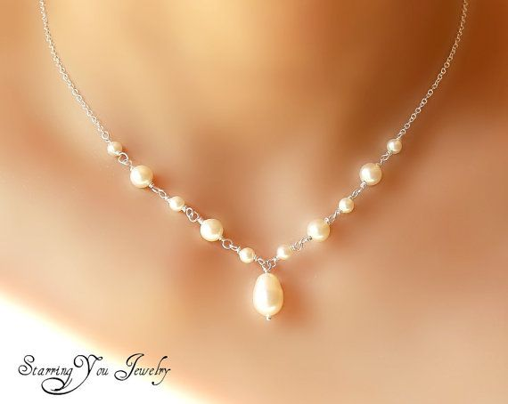 Bridesmaid pearl necklace V shape by StarringYouJewelry on Etsy, $30.00