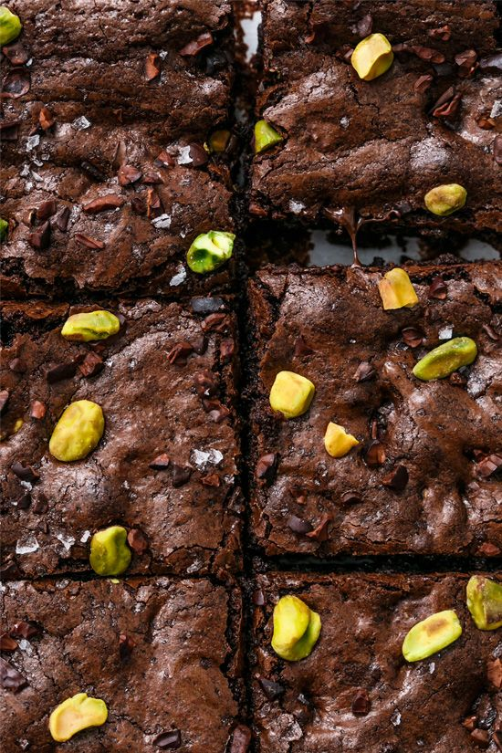 Olive Oil Brownies with Pistachios, Cacao Nibs and Sea Salt
