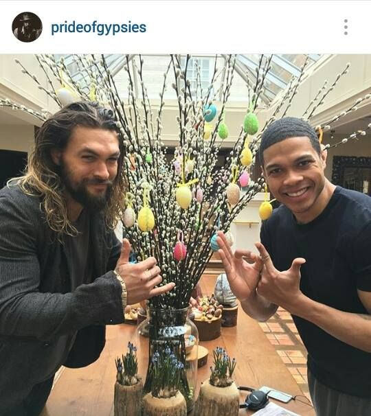 """From his instagram, """" Happy Easter from cyborg and Aquaman. (Ray Fisher)"""