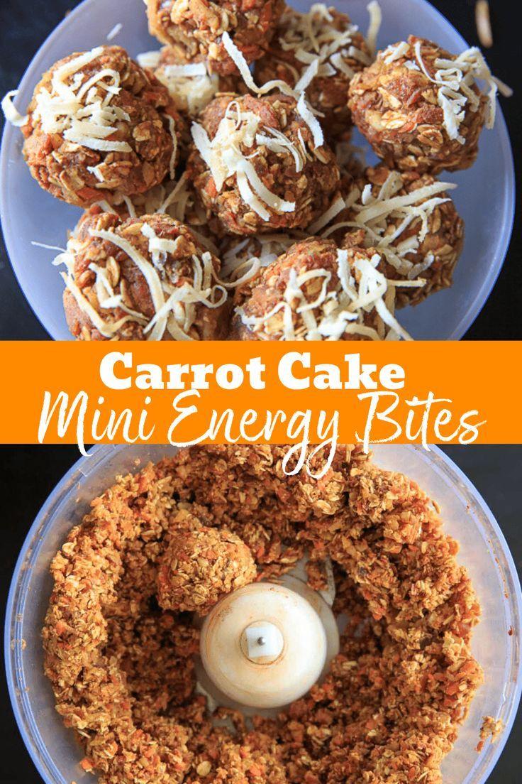 Carrot Cake Energy Bites Vegan Gluten Free No Bake Snack Recipe In 2020 Energy Bites Vegetarian Recipes Easy Food Processor Recipes