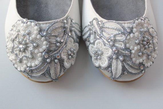 Français noeud dentelle mariée ballerines chaussures de mariage - toutes les…