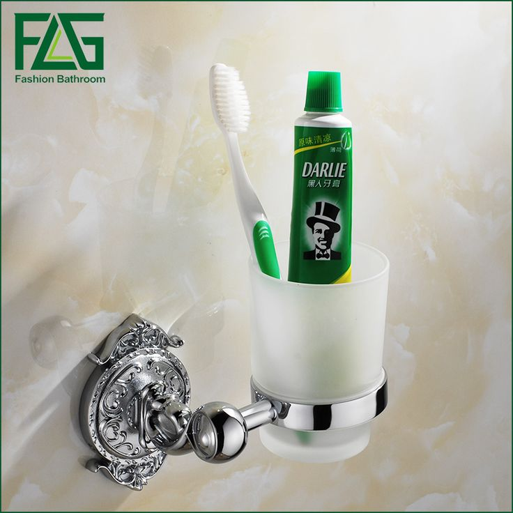 FLG Luxury Chrome Wall mounted Toothbrush Tumbler Bathroom Accessories Single Cup Tumbler Holders,Toothbrush Cup Holders