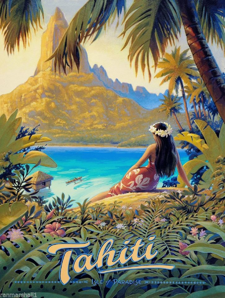 Tahiti Bora Bora French Polynesia South Seas Travel Art Advertisement Poster
