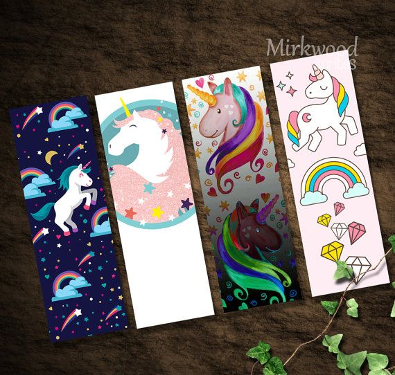 Unicorn Bookmarks Printable Set of 4 Rainbow by MirkwoodScribes