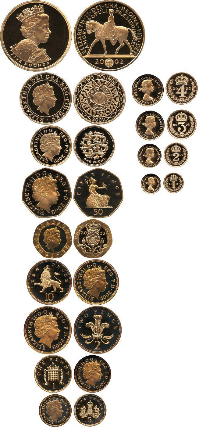 Elizabeth II, gold proof set, 2002, five pounds to maundy penny, Golden Jubilee.